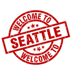 Welcome to seattle red stamp vector