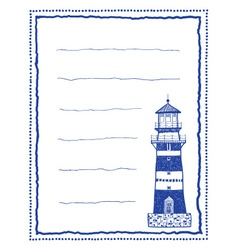 Writing paper or letter paper with lighthouse vector image vector image