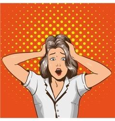 Woman in panic in pop art vector