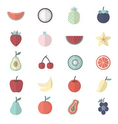 Fruit healthy food set of nature icon style vector