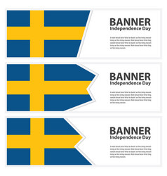 Sweden flag banners collection independence day vector