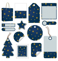 blue and gold christmas tags vector image