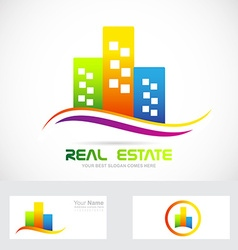 Real estate buildings skyscrapers logo vector
