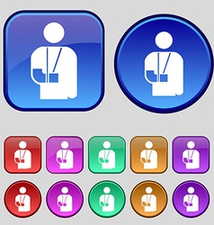 Broken arm disability icon sign a set of twelve vector