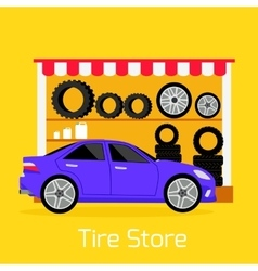 Tire store automobile flat concept vector