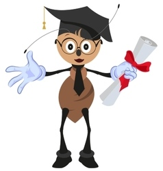 Ant holding diploma graduation vector