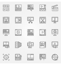 Video editor icons set vector