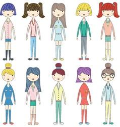 Cute GirlLovely GirlsFashion Style Girl set vector image