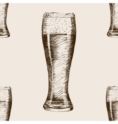 Glass of beer sketch style seamless pattern vector image