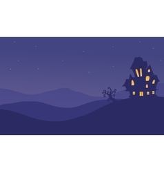 Halloeen castle scenery at night vector