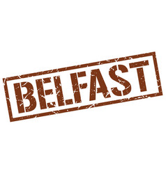 Belfast brown square stamp vector