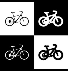Bicycle bike sign black and white icons vector