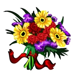 Bright bouquet of yellow red and purple flowers vector