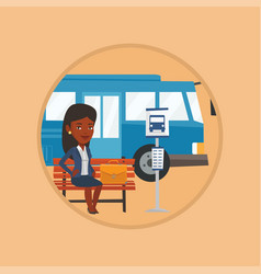Business woman waiting at the bus stop vector