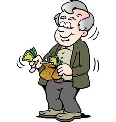 Cartoon of a happy old man taking money out of vector