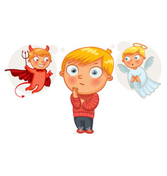 choice between good and evil cartoon character vector image vector image