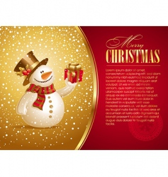 christmas illustration with smiling snowman vector image