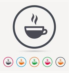coffee cup icon hot tea drink sign vector image