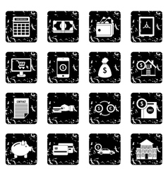 Credit set icons grunge style vector