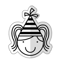cute little girl with hat party character vector image