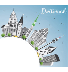 Dortmund skyline with gray buildings blue sky and vector