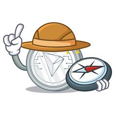 Explorer tron coin character cartoon vector