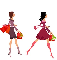fashion girls with purchase for your design vector image