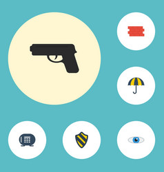 Flat icons shield vision safe and other vector