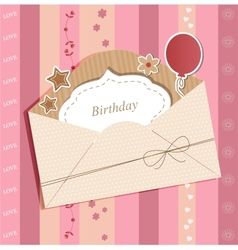 Greeting card with envelope vector image vector image