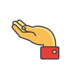 hand supporting gesture concept line icon vector image vector image