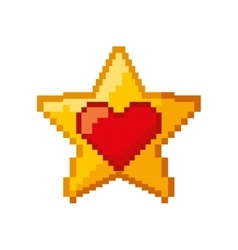 Heart love and star pixelated icon vector