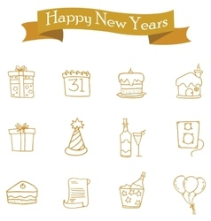 Icon of new year and christmas element vector