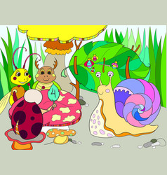 insects learn math coloring for children cartoon vector image