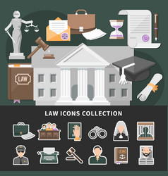 Justice icons set background vector
