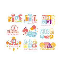 Kids land playground and entertainment club set of vector