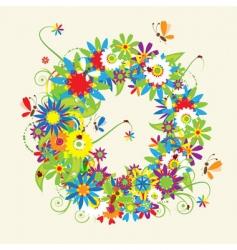 letter O floral design vector image vector image