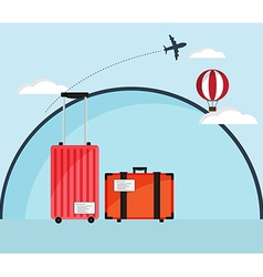 Luggage with Air Plane and Hot Air Ballloon vector image