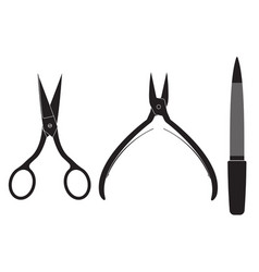 Manicure set scissors nippers file vector