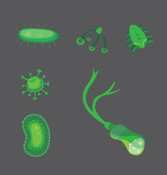 Set bacteria and virus flat vector