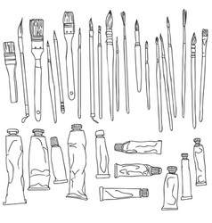 Set of paint brushes and paint tubes vector