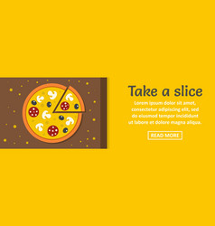 take a pizza slice banner horizontal concept vector image