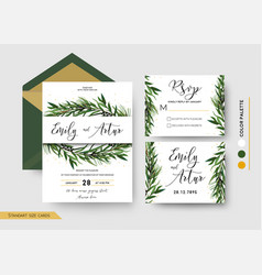 Wedding invitation save the date rsvp invite card vector