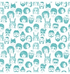 Doodle seamless pattern of a diverse people faces vector image