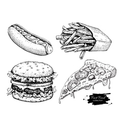Vintage fast food drawing set vector