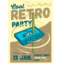 Cool comic retro party poster template pencil vector