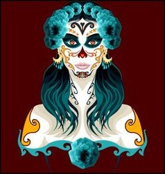 Day of the dead woman portrait vector image