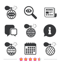 Perfume bottle icons glamour fragrance signs vector