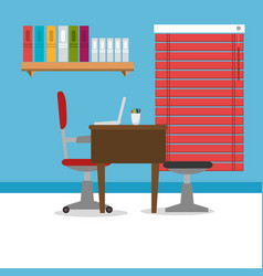 Workplace office scenery icon vector