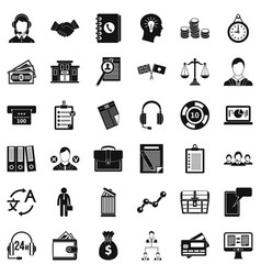 Business leader icons set simple style vector