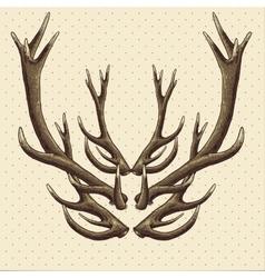 Hipster vintage background with deer antlers vector image
